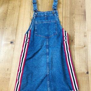 H&M Denim Striped Overall Skirt